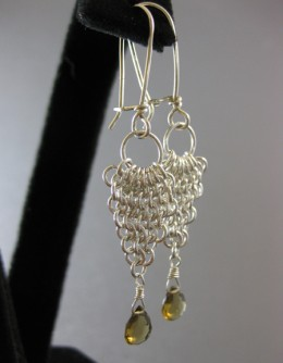 Chain maille waterfall earrings