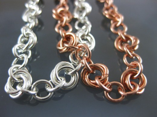 Delicate flower style chainmail bracelets in silver and copper