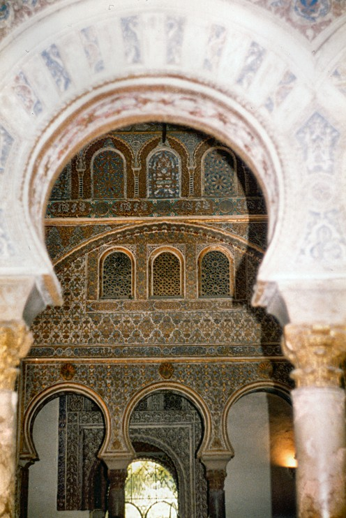 In 715 Seville was capital of an almost entirely Muslim 'Spain'. Seville was reconquered in 1236. Copyright Tricia Mason. Seville Alcazar. 1985.