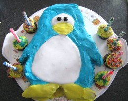 Club Penguin Birthday Cake courtesy of Green Gourmet Giraffe