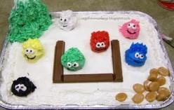 Puffle Round Up Cake courtesy of Cage Free Monkeys