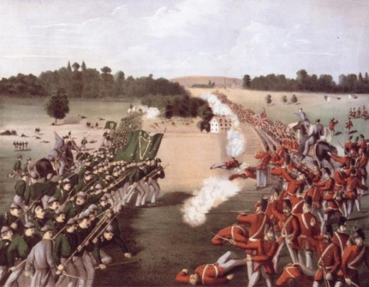 Fenian Army Engages British Forces at Ridgeway, Ontario on June 2, 1866 where the Fenian forces were victorious.  (Public Domain photo courtesy of WikiPedia.org  http://en.wikipedia.org/wiki/File:Battle_of_Ridgeway.jpg )