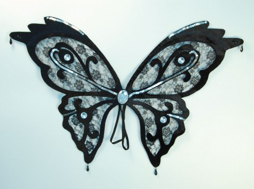 Black Lace Effect Butterfly Wings
