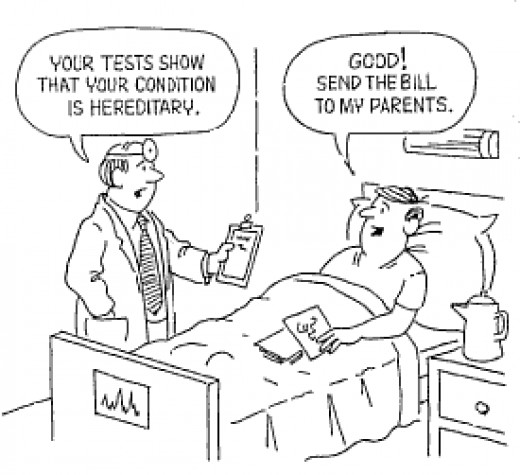Doctor: Your tests show that your condition is herditary. Patient: That's really Good. Please send the bill to my parents.