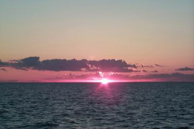 Sunset on Lake Michigan (public domain).