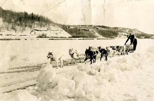 Dog sledding 1954. Photo shot in Manitoba (public domain photos this page).