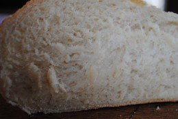Exactly the right texture, light and chewy, with a crusty outside. The holes in the bread show the action of the yeast and gluten.