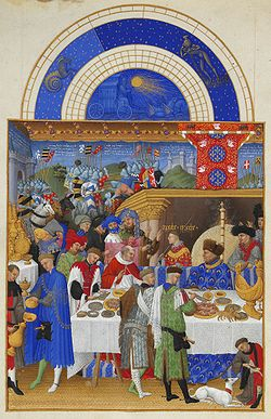 January: The Duke's household exchanges New Year gifts - the Duke at right in a blue robe.