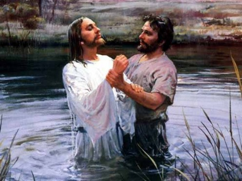 A depiction of John baptising Jesus in the Jordan.