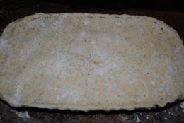 Assemble the pot pie in a casserole, and top with a dressed up pastry crust.