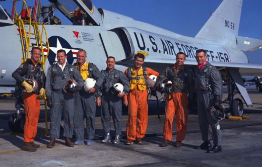 Mercury Astronauts (left to right) Carpenter, Cooper, Glenn, Grissom, Schirra, Shepard and Slayton were all military test pilots. Image Courtesy of NASA.