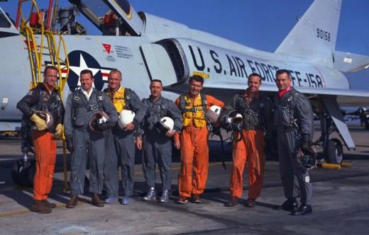 Mercury Astronauts (left to right) Carpenter, Cooper, Glenn, Grissom, Schirra, Shepard and Slayton were all military test pilots. Image Courtesy of NASA.