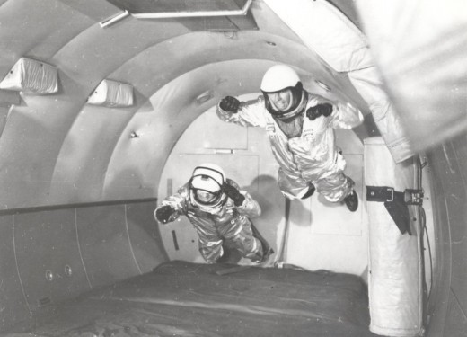 Weightlessness training aboard a C-131 aircraft in parabolic flight. Image Courtesy of NASA.