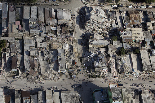 Damage in Haiti earthquake which measured around 7 on Richter scale.