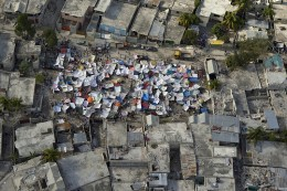 Tents setup in Haiti after one of the worst earthquakes in history.