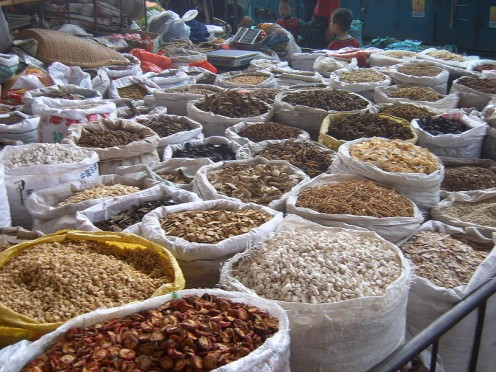 Part of a Traditional Chinese Medicine (TCM) market.