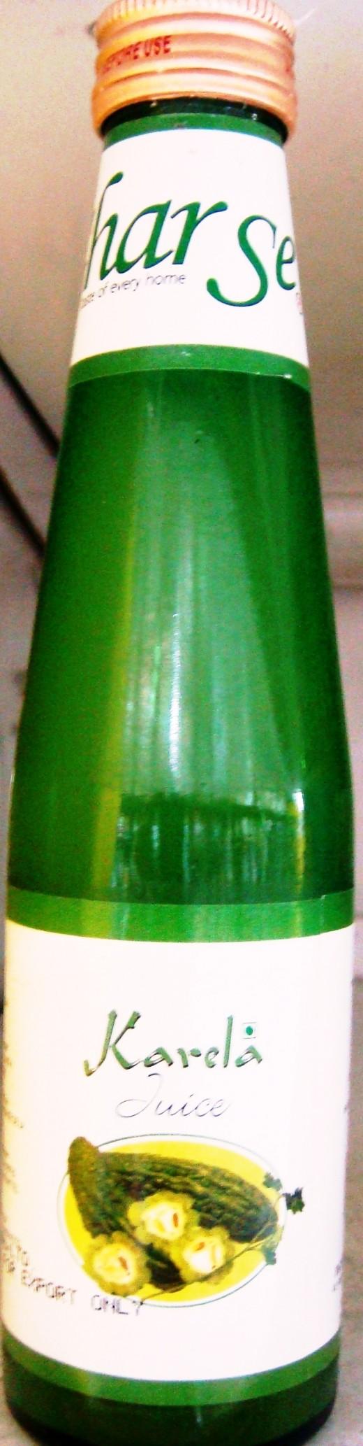 Karela juice in a bottle