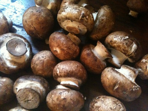 Crimini Mushrooms, also called baby bellas, baby portobellas, or brown mushrooms
