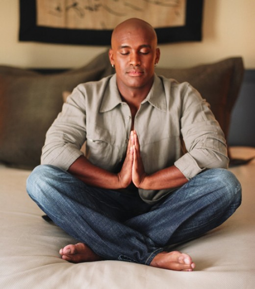 men in meditation, to have calm thoughts before sleeping