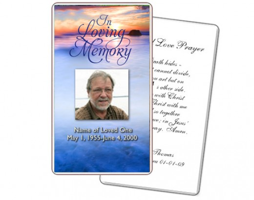 A prayer card template courtesy of The Funeral Program Site can be used to place your verses on nicely. http://www.funeralprogram-site.com