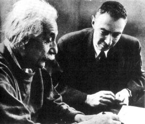 Albert Einstein with Robert Oppenheimer