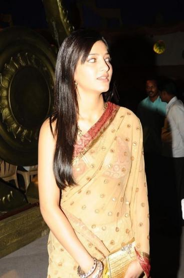 Sharuti in a Brown Saree