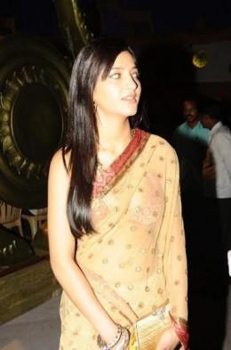 Sharuti in a Brown Saree