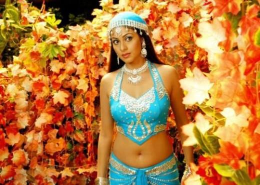 Hot Blue Saree Navel Show Sadha