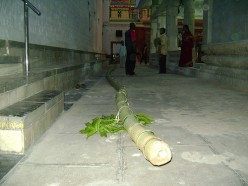The long Flag Pole specially procured to hoist the temple flag a Hindu tradition.
