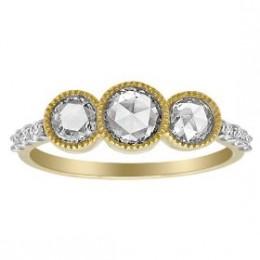 Buy 14k Yellow Gold Rose Cut Diamond 3-Stone Ring