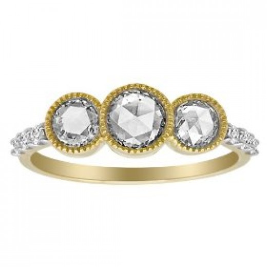 Buy 14k Yellow Gold Rose Cut Diamond 3-Stone Ring