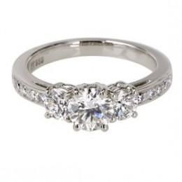 Buy Platinum Round 3-Stone Diamond Ring