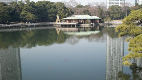 Famous Nakajima tea house on sea water pond