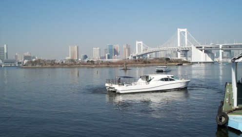 Rainbow Bridge and Odaiba, seen from the boat dock as we depart