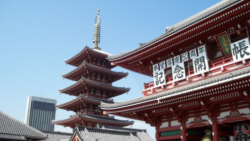 Hozoumon gate and the five story pagoda