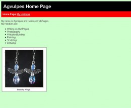 Hobby page for Agvulpes, a page I mocked up simply to show the working of CSS