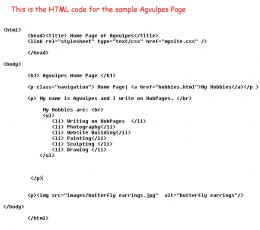 HTML code for the Agvulpes sample Page