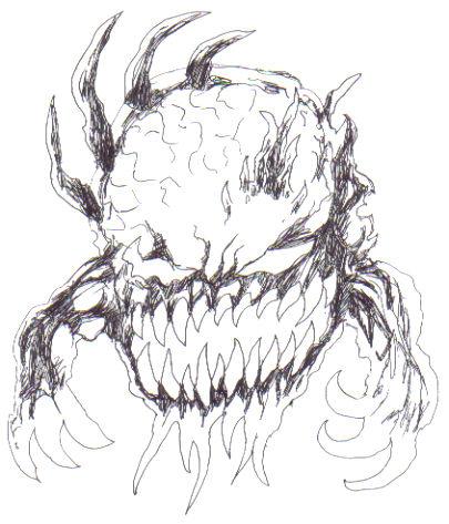 Demon monster sketch idea done with a black biro pen.