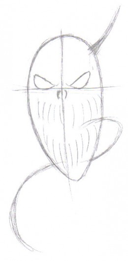 Drawing in the eyes and a few features helps to make it look slightly demonic.