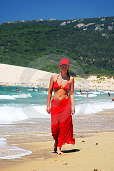 A Private Beach is the prefect place to take a stroll in your favorite Negligee' covered barely with a Satin Robe!