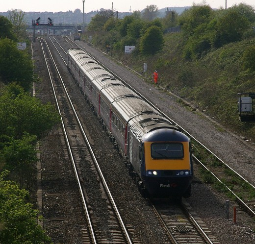 A First Great Western intercity train heading towards the Severn Tunnel from South Wales.  Photo courtesy of mattbuck4950 and distributed under Creative Commons Attribution Share-Alike License.
