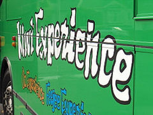 The crazy Lettering shows Promise of exciting Times to come. The bright Green is the Livery of the Kiwi Bus.