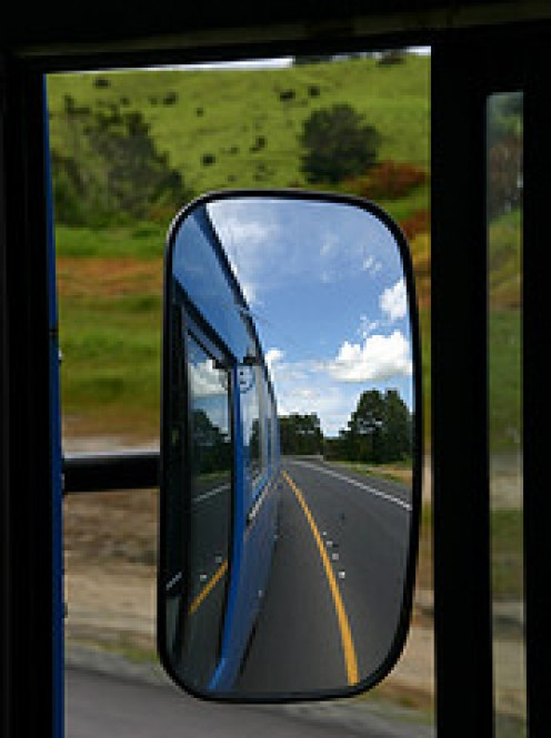The beautiful New Zealand Scenery seen reflected in the Mirror of the Kiwi Bus........All photos courtesy Flickr.