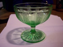 A green sherbet glass I picked up at an antique mall.
