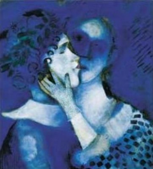The strong vibrant blues that Chagall is so enchanted with .