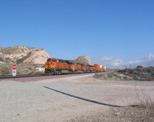 BNSF engine..the tracks were sizzling as it made its way down the Cajon Pass.
