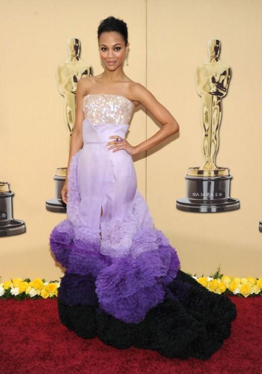 Zoe Saldana Pretty in Violet Dress 2010 Academy Awards