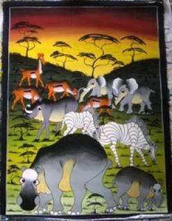 Going on Safari   Artist Mr Ti To   Oil on Canvas   24  32   Unframed.