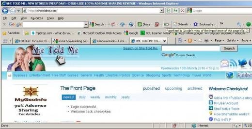 shetoldme.com's verified Page Rank