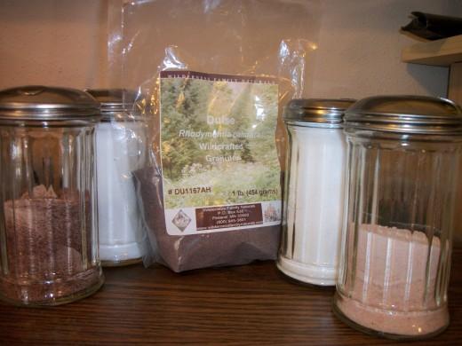 Rich Mineral Sources.  Sulfer rich salt, Celtic Sea Salt, Dulce, Sun Harvest Sea Salt, Pink Himalayan Salt.  Personal photo.
